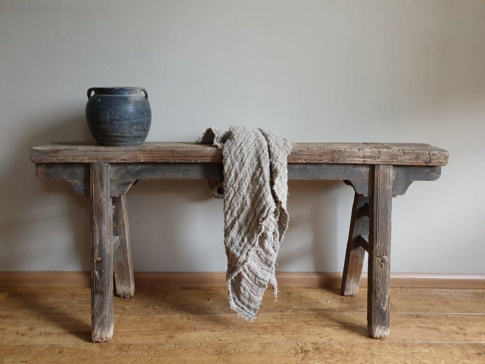 Shabby linnen plaid, grote doek ( 1 meter)