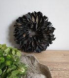 Krans palm petal wreath black (doorsnee ca25cm)_