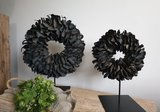 Krans palm petal wreath black (doorsnee ca 40cm)_